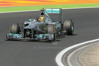 World © Octane Photographic Ltd. F1 Hungarian GP - Hungaroring. Friday 26th July 2013. F1 Practice 2. Mercedes AMG Petronas F1 W04 – Lewis Hamilton. Digital Ref : 0760lw1d2047