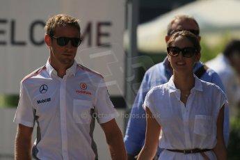 World © Octane Photographic Ltd. F1 Hungarian GP - Hungaroring, Saturday 27th July 2013 - Paddock. Vodafone McLaren Mercedes - Jenson Button and Jessica Mitchibata. Digital Ref : 0762lw1d2878