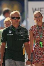 World © Octane Photographic Ltd. F1 Hungarian GP - Hungaroring, Saturday 27th July 2013 - Paddock. Caterham F1 Team – Heikki Kovalainen. Digital Ref : 0762lw1d2936