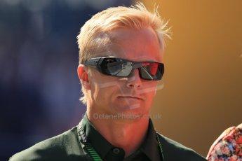 World © Octane Photographic Ltd. F1 Hungarian GP - Hungaroring, Saturday 27th July 2013 - Paddock. Caterham F1 Team – Heikki Kovalainen. Digital Ref : 0762lw1d2949