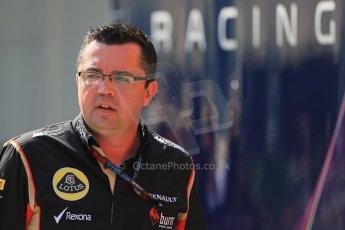 World © Octane Photographic Ltd. F1 Hungarian GP - Hungaroring, Saturday 27th July 2013 - Paddock. Lotus F1 Team - Eric Boullier. Digital Ref : 0762lw1d2981