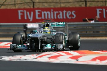 World © Octane Photographic Ltd. F1 Hungarian GP - Hungaroring, Saturday 27th July 2013 - Practice 3. Mercedes AMG Petronas F1 W04 - Nico Rosberg. Digital Ref : 0763lw1d3283