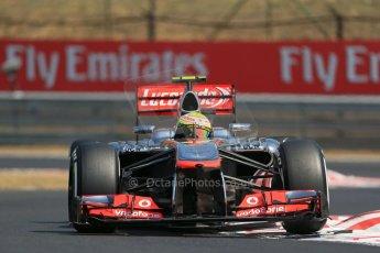 World © Octane Photographic Ltd. F1 Hungarian GP - Hungaroring, Saturday 27th July 2013 - Practice 3. Vodafone McLaren Mercedes MP4/28 - Sergio Perez . Digital Ref : 0763lw1d3323