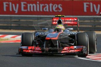 World © Octane Photographic Ltd. F1 Hungarian GP - Hungaroring. Friday 26th July 2013. F1 Practice 1. Vodafone McLaren Mercedes MP4/28 - Sergio Perez . Digital Ref : 0758lw1d0856