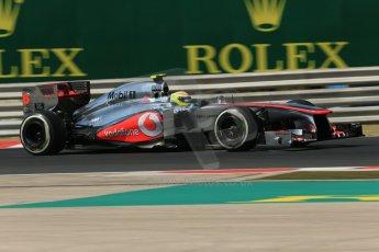 World © Octane Photographic Ltd. F1 Hungarian GP - Hungaroring. Friday 26th July 2013. F1 Practice 1. Vodafone McLaren Mercedes MP4/28 - Sergio Perez . Digital Ref : 0758lw1d1092