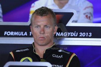 World © Octane Photographic Ltd. F1 Hungarian GP - Hungaroring. Thursday Press Conference. 25th July 2013. Lotus F1 Team E21 - Kimi Raikkonen. Digital Ref : 0756lw1d0447
