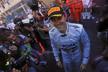 World © Octane Photographic Ltd. F1 Monaco GP, Monte Carlo - Sunday 26th May - Podium and celebrations. Mercedes AMG Petronas' Nico Rosberg celebrates after his lights to flag victory. Digital Ref : 0712lw1d2169