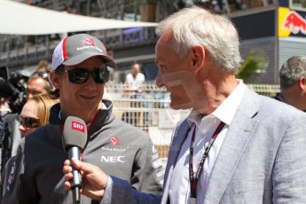 World © Octane Photographic Ltd. F1 Monaco GP, Monte Carlo - Sunday 26th May - Race. Sauber F1 Team - Esteban Gutierrez talks to SRF (Swiss broadcaster). Digital Ref : 0711lw7d9758