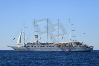 """World © Octane Photographic Ltd. Luxury liner """"Wind Surf"""" owned by Windstar Cruises can accommodate up to 310 guests in 31 suites and 123 state rooms. Digital Ref : 07137d2934"""