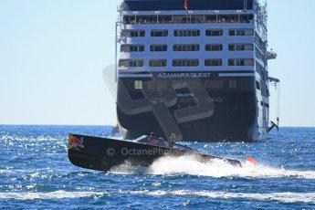 World © Octane Photographic Ltd. One of Infiniti Red Bull Racing's shuttle motor boats powers past the Azamara Quest. Digital Ref : 07137d2955
