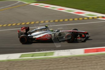World © Octane Photographic Ltd. F1 Italian GP - Monza, Friday 6th September 2013 - Practice 2. Vodafone McLaren Mercedes MP4/28 - Sergio Perez . Digital Ref : 0813lw1d42486