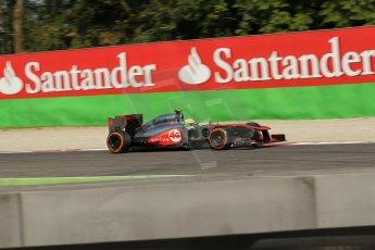 World © Octane Photographic Ltd. F1 Italian GP - Monza, Saturday 7th September 2013 - Practice 3. Vodafone McLaren Mercedes MP4/28 - Sergio Perez . Digital Ref :