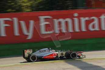 World © Octane Photographic Ltd. F1 Italian GP - Monza, Saturday 7th September 2013 - Practice 3. Vodafone McLaren Mercedes MP4/28 - Jenson Button. Digital Ref :
