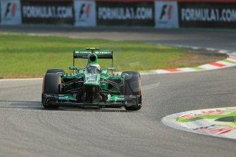 World © Octane Photographic Ltd. F1 Italian GP - Monza, Friday 6th September 2013 - Practice 1. Caterham F1 Team CT03 3rd driver – Heikki Kovalainen. Digital Ref : 0811lw1d1439