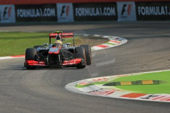 World © Octane Photographic Ltd. F1 Italian GP - Monza, Friday 6th September 2013 - Practice 1. Vodafone McLaren Mercedes MP4/28 - Sergio Perez . Digital Ref : 0811lw1d1679