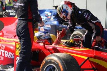 World © Octane Photographic Ltd. GP2 Italian GP, Monza, Saturday 7th September 2013. Race 1. Sam Bird – Russian TIME congratulates race winner Fabio Leimer- Racing Engineering. Digital Ref :