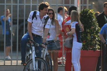 World © Octane Photographic Ltd. F1 Italian GP - Monza, Saturday 7th September 2013 - Paddock. Williams FW35 – Susie Wolff and husband Toto Wolff Mercedes motor sport chief. Digital Ref : 0815lw1d3863