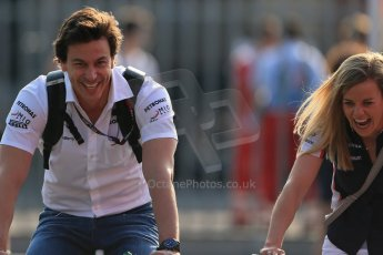 World © Octane Photographic Ltd. F1 Italian GP - Monza, Saturday 7th September 2013 - Paddock. Williams FW35 – Susie Wolff and husband Toto Wolff Mercedes motor sport chief. Digital Ref : 0815lw1d3887