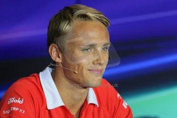 World © Octane Photographic Ltd. F1 Italian GP - Monza, Thursday 5th September 2013 - FIA Press Conference. Marussia F1 Team MR02 - Max Chilton. Digital Ref : 0809lw1d1099