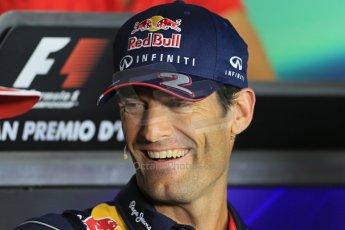World © Octane Photographic Ltd. F1 Italian GP - Monza, Thursday 5th September 2013 - FIA Press Conference. Infiniti Red Bull Racing RB9 - Mark Webber. Digital Ref : 0809lw1d1305
