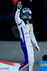 World © Octane Photographic Ltd./Chris Enion. Saturday 30th June 2013 Dallara GP3/13 - British GP - Silverstone - Race 2. Trident – Giovanni Venturini celebrates in Parc Ferme. Digital ref : 0736ce1d9197