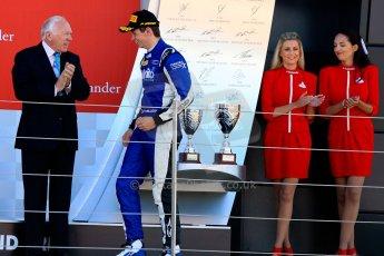 World © Octane Photographic Ltd./Chris Enion. Saturday 30th June 2013 Dallara GP3/13 - British GP - Silverstone - Race 2. Carlin – Nick Yelloly walks onto the podium. Digital ref : 0736ce1d9206