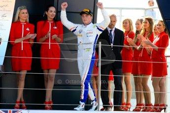 World © Octane Photographic Ltd./Chris Enion. Saturday 30th June 2013 Dallara GP3/13 - British GP - Silverstone - Race 2. Trident – Giovanni Venturini waves whilst walking onto the podium. Digital ref : 0736ce1d9207
