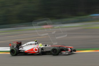 World © Octane Photographic Ltd. F1 Belgian GP - Spa - Francorchamps. Friday 23rd August 2013. Practice 1. Vodafone McLaren Mercedes MP4/28 - Sergio Perez . Digital Ref : 0784lw1d4773