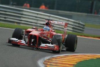 World © Octane Photographic Ltd. F1 Belgian GP - Spa - Francorchamps. Friday 23rd August 2013. Practice 1. Scuderia Ferrari F138 - Fernando Alonso. Digital Ref : 0784lw1d7256