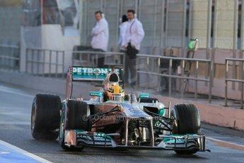 World © Octane Photographic Ltd. Formula 1 Winter testing, Barcelona – Circuit de Catalunya, 28th February 2013. Mercedes AMG Petronas  F1 W04 – Lewis Hamilton. Digital Ref: 0581lw1d6807