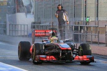 World © Octane Photographic Ltd. Formula 1 Winter testing, Barcelona – Circuit de Catalunya, 28th February 2013. Vodafone McLaren Mercedes MP4/28. Sergio Perez. Digital Ref: 0581lw1d6940