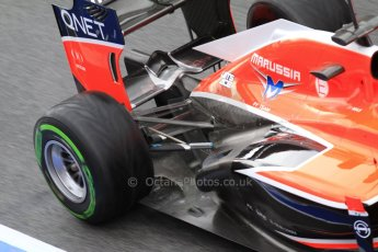World © Octane Photographic Ltd. Formula 1 Winter testing, Barcelona – Circuit de Catalunya, 1st March 2013. Marussia MR02 exhaust and rear end, Max Chilton. Digital Ref: 0582lw7d0423