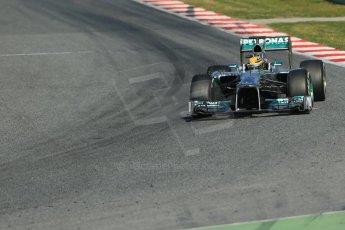 World © Octane Photographic Ltd. Formula 1 Winter testing, Barcelona – Circuit de Catalunya, 2nd March 2013. Mercedes AMG Petronas  F1 W04 – Lewis Hamilton. Digital Ref: 0583lw1d9042