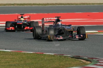 World © Octane Photographic Ltd. Formula 1 Winter testing, Barcelona – Circuit de Catalunya, 2nd March 2013. Toro Rosso STR8, Jean-Eric Vergne and Vodafone McLaren Mercedes MP4/28, Sergio Perez. Digital Ref: 0583lw1d9420