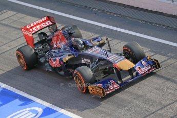 World © Octane Photographic Ltd. Formula 1 Winter testing, Barcelona – Circuit de Catalunya, 3rd March 2013. Toro Rosso STR8, Daniel Ricciardo in a new unpainted helmet. Digital Ref: 0584lw1d0350