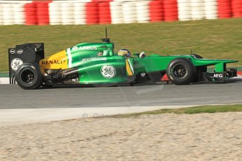 World © Octane Photographic Ltd. Formula 1 Winter testing, Barcelona – Circuit de Catalunya, 3rd March 2013. Caterham CT03, Charles Pic. Digital Ref: 0584lw7d1006
