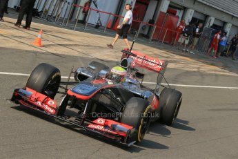 World © Octane Photographic Ltd. Formula 1 - Young Driver Test - Silverstone. Thursday 18th July 2013. Day 2. Vodafone McLaren Mercedes MP4/28 - Oliver Turvey. Digital Ref : 0753lw1d9123