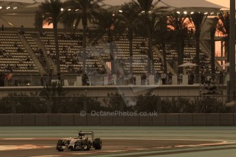 World © Octane Photographic Ltd. Friday 21st November 2014. Abu Dhabi Grand Prix - Yas Marina Circuit - Formula 1 Practice 2. Mercedes AMG Petronas F1 W05 - Nico Rosberg. Digital Ref: 1161CB1D7129