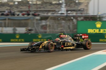 World © Octane Photographic Ltd. Friday 21st November 2014. Abu Dhabi Grand Prix - Yas Marina Circuit - Formula 1 Practice 2. Lotus F1 Team E22 – Pastor Maldonado. Digital Ref: 1161CB1D7151
