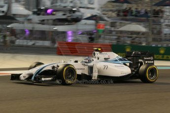 World © Octane Photographic Ltd. Friday 21st November 2014. Abu Dhabi Grand Prix - Yas Marina Circuit - Formula 1 Practice 2. Williams Martini Racing FW36 – Valtteri Bottas. Digital Ref: 1161CB1D7179