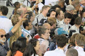 World © Octane Photographic Ltd. Sunday 23rd November 2014. Abu Dhabi Grand Prix - Yas Marina Circuit - Formula 1 Podium. Parc Ferme Media scrum. Digital Ref: 1173CB1D0146