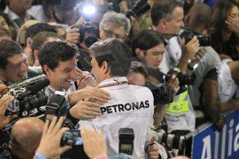 World © Octane Photographic Ltd. Sunday 23rd November 2014. Abu Dhabi Grand Prix - Yas Marina Circuit - Formula 1 Podium. Mercedes AMG Petronas – Toto Wolff. Digital Ref: 1173CB1D0177