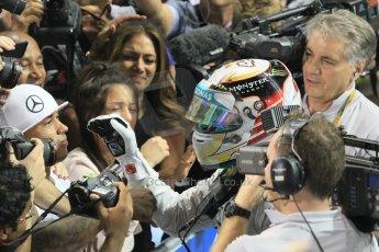 World © Octane Photographic Ltd. Sunday 23rd November 2014. Abu Dhabi Grand Prix - Yas Marina Circuit - Formula 1 Podium. Mercedes AMG Petronas – Lewis Hamilton - Race winner and 2014 World Champion greeting his team and family. Digital Ref: 1173CB1D0531