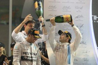 World © Octane Photographic Ltd. Sunday 23rd November 2014. Abu Dhabi Grand Prix - Yas Marina Circuit - Formula 1 Podium. Mercedes AMG Petronas – Lewis Hamilton - Race winner and 2014 World Champion and Williams Racing - Felipe Massa (2nd) and Valtteri Bottas (3rd). Digital Ref: 1173CB1D1288