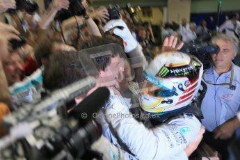 World © Octane Photographic Ltd. Sunday 23rd November 2014. Abu Dhabi Grand Prix - Yas Marina Circuit - Formula 1 Podium. Mercedes AMG Petronas – Lewis Hamilton - Race winner and 2014 World Champion greeting his team and family. Digital Ref: 1173LB1D7706