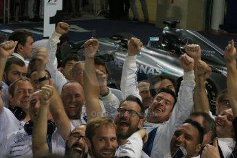 World © Octane Photographic Ltd. Sunday 23rd November 2014. Abu Dhabi Grand Prix - Yas Marina Circuit - Formula 1 Podium. The Hamilton family and Nicole Scherzinger. Digital Ref: 1173LB1DX7463