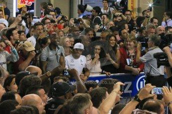 World © Octane Photographic Ltd. Sunday 23rd November 2014. Abu Dhabi Grand Prix - Yas Marina Circuit - Formula 1 Podium. The Hamilton family and Nicole Scherzinger. Digital Ref: 1173LB1DX7467