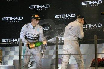 World © Octane Photographic Ltd. Sunday 23rd November 2014. Abu Dhabi Grand Prix - Yas Marina Circuit - Formula 1 Podium. Mercedes AMG Petronas – Lewis Hamilton - Race winner and 2014 World Champion. Digital Ref: 1173LB1DX7635