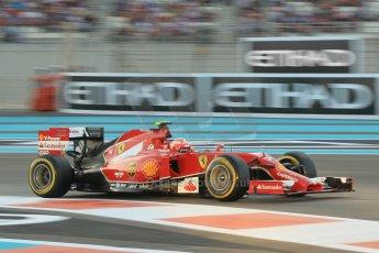 World © Octane Photographic Ltd. 2014 Formula 1 Abu Dhabi Grand Prix, F1 Qualifying, Saturday 22nd November 2014. Scuderia Ferrari F14T – Kimi Raikkonen. Digital Ref : 1166CB1D8221