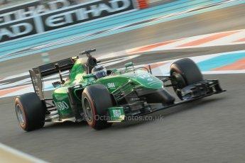 World © Octane Photographic Ltd. 2014 Formula 1 Abu Dhabi Grand Prix, F1 Qualifying, Saturday 22nd November 2014. Caterham F1 Team CT05 - Kamui Kobayashi. Digital Ref : 1166CB1D8296